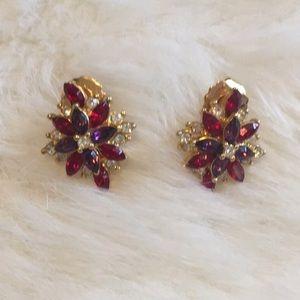 Jewelry - Red Purple White rhinestone earrings
